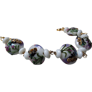 Lampwork Butterfly Lentil Shaped bead, Bracelet