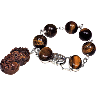 14 MM Tiger Eye Beaded, Bracelet Plus Earrings