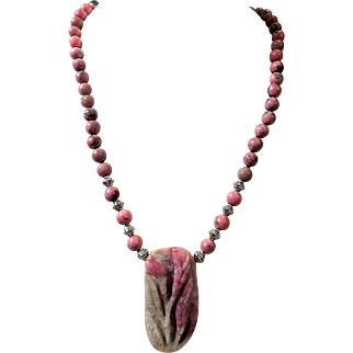 Natural Carved Rhodochrosite Pendant Necklace, Earrings