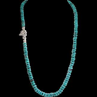 Sleeping Beauty, Turquoise Heishi Bead Necklace, With Earrings