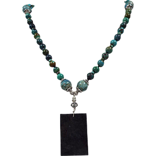 Natural Black Pendant, Chinese turquoise, Plus Larimar Beaded Necklace, Earrings