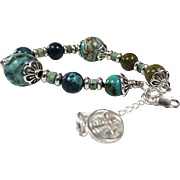 Chinese Turquoise And Larimar Bracelet