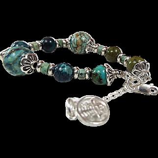 Chinese Turquoise And Larimar Bracelet