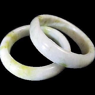 Pair Of White And Light Green, Mottled Jadeite Bangles