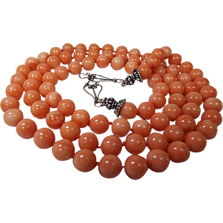 Angel Skin Coral 32 inch Necklace, Plus Earrings