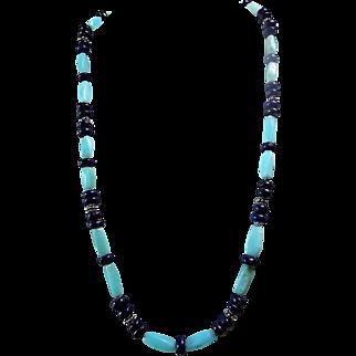Egyptian Lapis Lazuli Rondelles With Peruvian Blue Opal Tubes Necklace Set