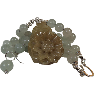 Aquamarine  beads, Nephrite Jade Pendant Necklace, Earrings