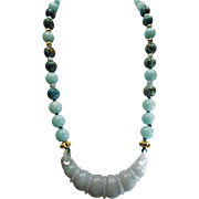 Devils Work, Jade Pendant With Blue Chalcedony And Larimar Beads, Necklace With Earrings