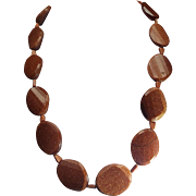 Goldstone Statement Necklace with Earrings