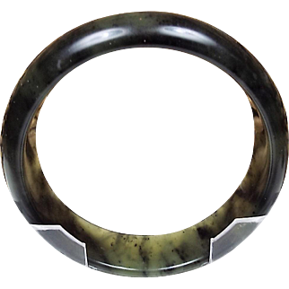100% Natural Black With Green Nephrite Jade Bangle