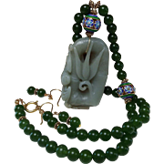 Jadeite, Bamboo Carved Pendant, Spinach Green, nephrite Jade, Beaded Necklace, Earrings