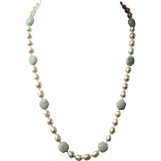 Freshwater pearls, with Jadeite Flowers, Spring Necklace, Earrings