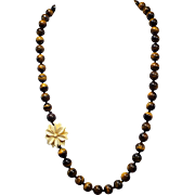 Tiger Eye Necklace With Camel Bone Carved Flower And Earrings