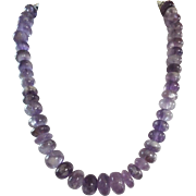 ,Hand Carved Natural Amethyst, Rondelle Bead Necklace