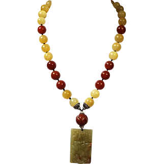 Certified Hetian Jade, Pendant, With Yellow Opals and Red Carnelian Necklace