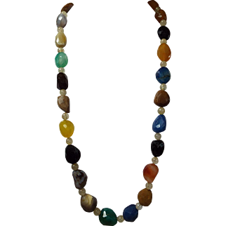 Natural Agate And Onyx, Long Necklace