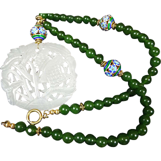 Celadon Openwork Jade Pendant, Spinach green beads, Necklace