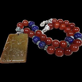 Certified Hetian Jade, Pendant, Red Carnelian,Peking Glass Beads, Necklace