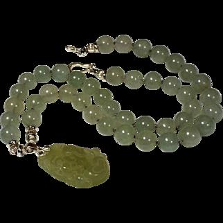 Chinese Zodiac Pendant,Natural Jadeite, Aquamarine Beaded Necklace