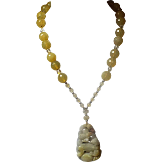 Natural Foo Dog Jadeite Pendant with 16mm Yellow Opals