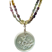 Carved Jadeite Pendant,Fluorite Beads, Three in One, Necklace