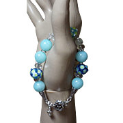 Lampwork With Blue Jadeite,  Bracelet