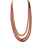 Antique, Edwardian ( 1901-1910 ) Genuine, Un-Dyed, Sardinian, Salmon Red, Coral Necklace (66 grams )