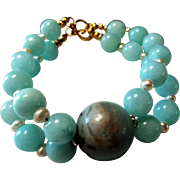25mm Amazonite , With Jade And Pearls Bracelet