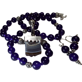 Natural Amethyst Geode Cluster, Madagascar Agate Pendant, with Dark Amethyst Beads, Necklace,