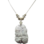 Lavender Jadeite Foo Dog Pendant,Glass Rondelles  Plus Sterling Silver Necklace