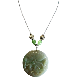 Certified Grade A Jadeite Carved Pendant, Necklace