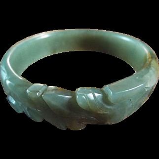 Antique, Natural HeTian Jade Carved Bangle.