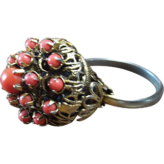Ornate, Chinese Gilt, Red Coral Statement Ring