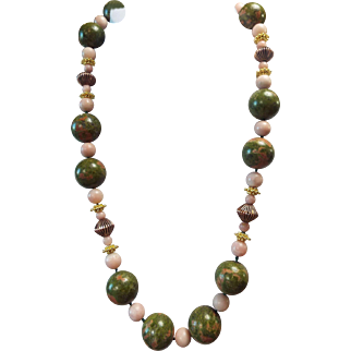 Large, Natural Unakite Jasper And Opal Beaded Necklace