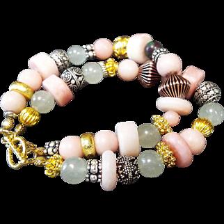 Double Strand, Gold, Silver Mix Bracelet