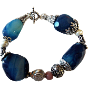 Large Bead, Blue Onyx Bracelet