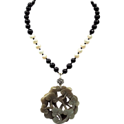 Natural Black Spinel,With Jade, And Cultured Freshwater Pearls Necklace