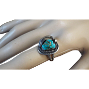 Turquoise, Sterling Silver Ring, Size 7.5