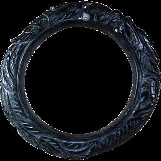 Natural Black, Carved Nephrite Jade Bangle