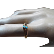 Small, 14K Gold And Persian Turquoise Ring, 2 grams.
