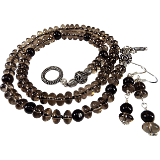 Smokey Quartz Rondelle Necklace, With Earrings