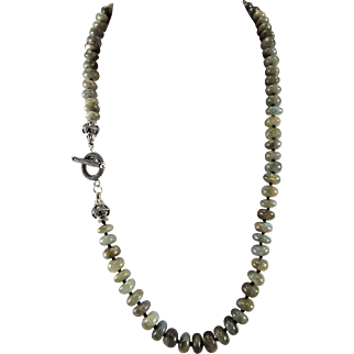Labradorite Rondelle Necklace With Earrings