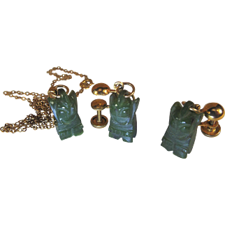 1960 Figural Cat, Natural imperial Green Jade, Pendant And Earrings