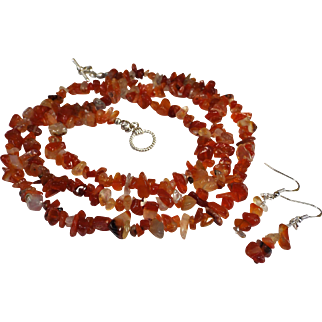 36 Inch, Carnelian Chip Necklace