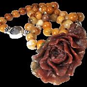 Carved Peony Pendant, Orange Agates, Earrings