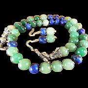 Aventurine And Lapis Lazuli Necklace , Earrings