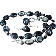 Black Onyx, Faceted Large Bead Necklace, Earrings