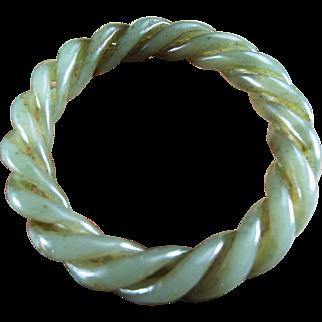 Natural, Nephrite Jade Celadon, Twisted Vine Bangle
