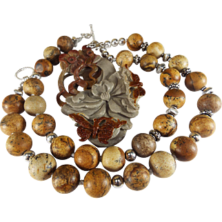 Carved Butterflies And Flowers Pendant, Picture Jasper Beads, Earrings
