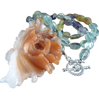 Carved  Amazonite Peony Pendant, Fluorite Oval Beads, Necklace And Earrings